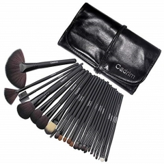 Cadrim Makeup Brush Set for Women with Pouch Bag Case(24pcs Black)