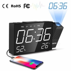 Cadrim Projection Alarm Clock With Big Snooze Button - Adjustable Brightness & Projection Distance 180°Angle FM