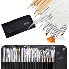 Cadrim 20pcs Nail Art Design Brush Set with Roll-Up Pouch-Professional Nail Art Supplies