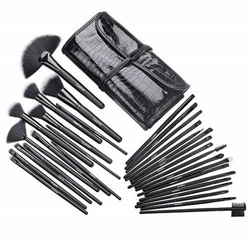 Cadrim  Makeup Brush Set for Women with Bagse (32pcs Black)