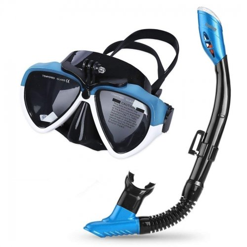 Cadrim Snorkel Set with Tempered Glass & Full-dry Top Snorkel,Anti-fog Diving Mask  ,Sports Camera Installable , Food-Grade Si
